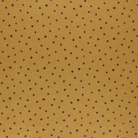 Tissu Flanelle Nuée d'étoiles - jaune moutarde x 10cm