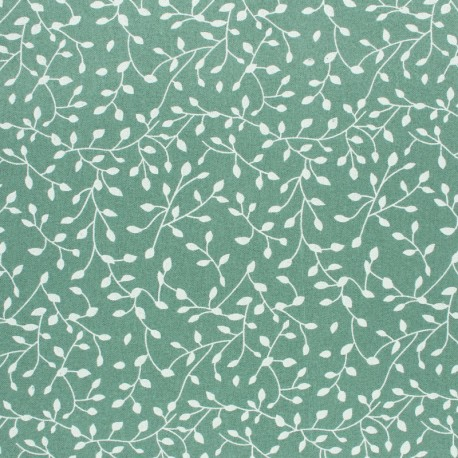 Flannel Fabric - Sauge green White Star x 10cm