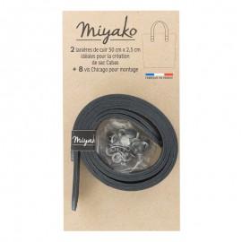 Miyako leather handle - Black