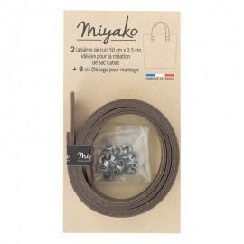 Miyako leather handle - Brown