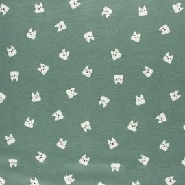 Tissu Flanelle Miaou - vert sauge x 10cm