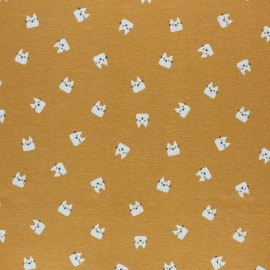 Flannel Fabric - mustard yellow Miaou x 10cm