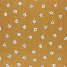 Tissu Flanelle Miaou - jaune moutarde x 10cm