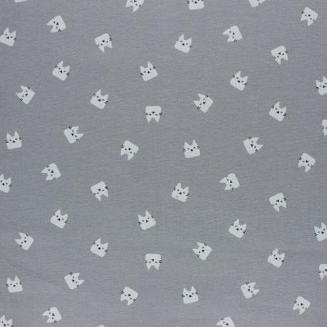 Tissu Flanelle Miaou - gris x 10cm