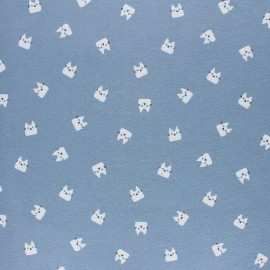 Tissu Flanelle Miaou - bleu ciel x 10cm