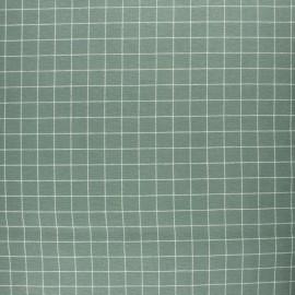 Tissu Flanelle à carreaux - vert sauge x 10cm