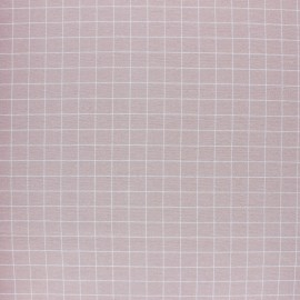 Tissu Flanelle à carreaux - rose poudré x 10cm