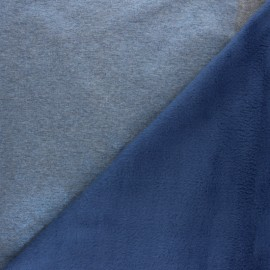 Iridescent Sweatshirt fabric with minkee reverse - blue x 10cm
