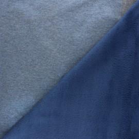 Tissu sweat irisé envers minkee - bleu x 10cm