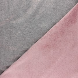 Iridescent Sweatshirt fabric with minkee reverse - pink x 10cm