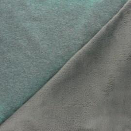 Iridescent Sweatshirt fabric with minkee reverse - green x 10cm