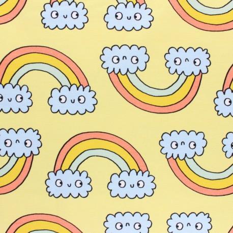 Organic light sweatshirt fabric - yellow Rainbow twins x 20 cm