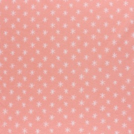 Eva Mouton Jersey terry cloth fabric - Coral pink Stars x 10cm
