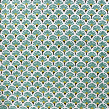 Coated cretonne cotton fabric - turquoise Eventail x 10cm