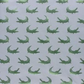 Cotton Jersey fabric - grey/Metallic green Croco Passion x 10cm