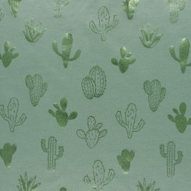 Cotton Jersey fabric - Green/Metallic green Cactus Passion x 10cm