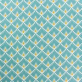 Coated cretonne cotton Fabric Ecailles - Teal Blue x 10cm