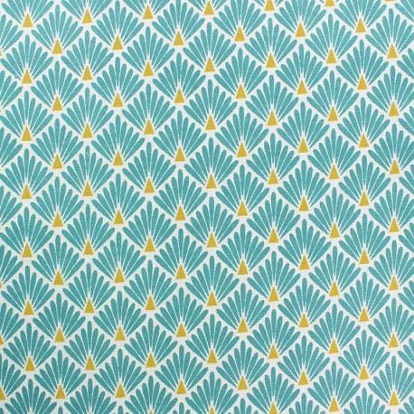 Tissu coton cretonne enduit Ecailles dorées - bleu canard x 10cm