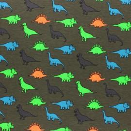 Cotton Jersey fabric - green Neon Dino x 10cm