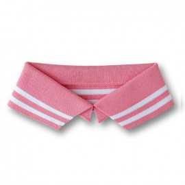 Organic Polo Collar with Double Stripes - Pink