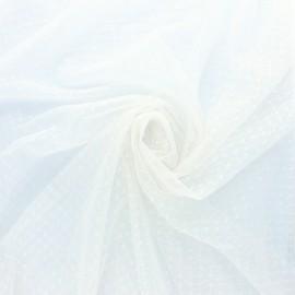 Tissu tulle élasthanne point d'esprit - blanc x 10cm