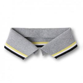Organic Polo Collar with Stripes - Grey