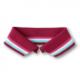Organic Polo Collar with Stripes - Plum