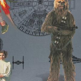 Panneau coton - Star Wars - gris x 100 cm