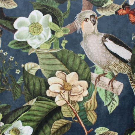 Digital print velvet fabric - green Exotic kingdom x 70 cm