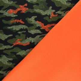 Water-repellent Neon Hunter Softshell fabric – green/orange x 10cm