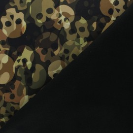 Tissu Softshell Poppy Skull Camo - vert kaki x 10cm