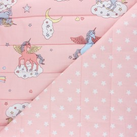 Quilted cotton fabric - pink Hydia the Unicorn x 10cm