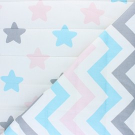 Quilted cotton fabric - white star/herringbone x 10cm
