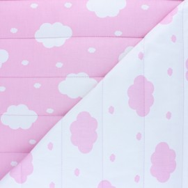 Tissu matelassé Réversible Pingouin - rose x 10cm