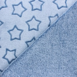 Double sided baby's security blanket - Blue Pluie d'étoiles x 10cm