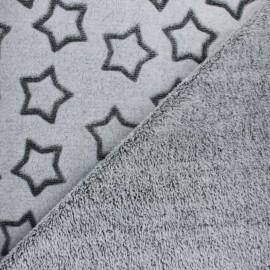 Tissu Doudou double face Pluie d'étoiles - gris foncé x 10cm