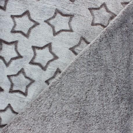 Tissu Doudou double face Pluie d'étoiles - marron x 10cm