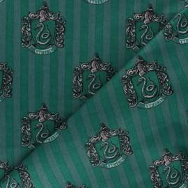 Tissu coton Harry Potter - Maison Serpentard - vert x 10cm