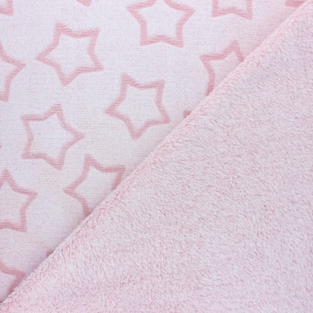 Tissu Doudou double face Pluie d'étoiles - vieux rose x 10cm
