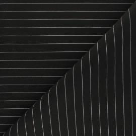 Tissu Gabardine lycra rayé Cassandra - noir x 10cm