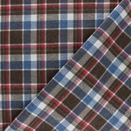 Tissu coton gratté Madelin - bleu/marron x 10cm