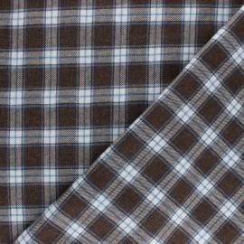 Tissu coton gratté Patricien - bleu/marron x 10cm