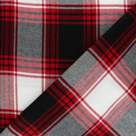 Tissu coton gratté Dalmond - rouge/gris x 10cm