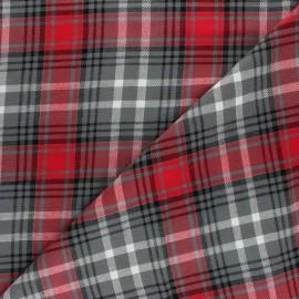 Tissu Tartan lurex Dagobert - rouge/gris x 10cm