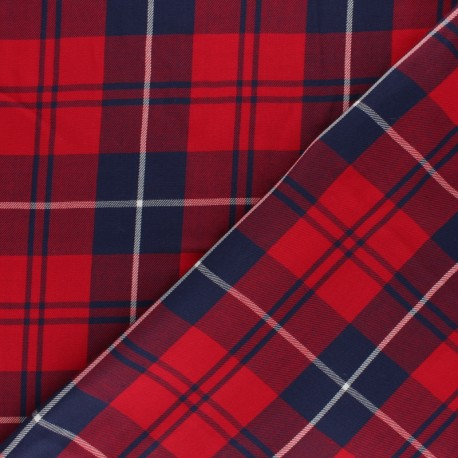 Scottish Tartan twill Cotton fabric - red Damibert x 10cm