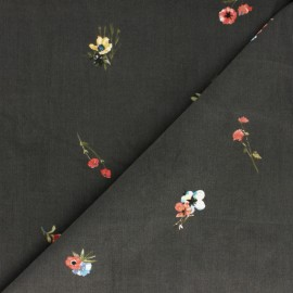 ♥ Coupon 60 cm X 145 cm ♥  Flowery Milleraies velvet fabric - grey Fanchette
