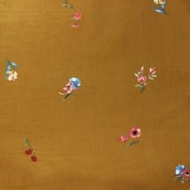Flowery Milleraies velvet fabric - ochre Fanchette x10cm