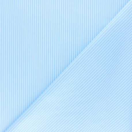 Shirt Poplin Cotton fabric - blue Aurèle x 10cm