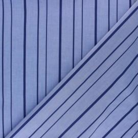 ♥ Coupon 10 cm X 150 cm ♥ Shirt Poplin Cotton fabric - blue Amédée