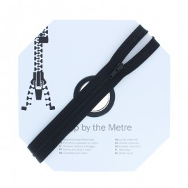 Zip by the meter with sliders (10m) - Black
